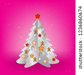 christmas pink greeting with... | Shutterstock .eps vector #1236860674