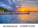 Gorgeous sunset on the docks of the Memorial Union Terrace on Lake Mendota in Madison, Wisconsin.