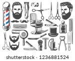 barbershop tools and equipment  ... | Shutterstock .eps vector #1236881524
