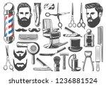 barbershop tools and equipment  ... | Shutterstock .eps vector #1236881524