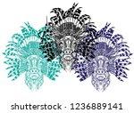 a deer with an ethnic headdress.... | Shutterstock .eps vector #1236889141