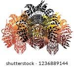 a deer with an ethnic headdress.... | Shutterstock .eps vector #1236889144