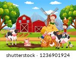 kids and animals at farmland... | Shutterstock .eps vector #1236901924
