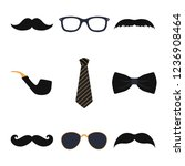 male photo booth props vector | Shutterstock .eps vector #1236908464