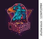 american eagle in neon style.... | Shutterstock .eps vector #1236910984