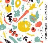 vegetable pattern with pumpkin  ... | Shutterstock .eps vector #1236915364