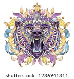 patterned head of the roaring... | Shutterstock .eps vector #1236941311