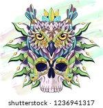 patterned owl and skull on the... | Shutterstock .eps vector #1236941317
