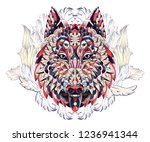 patterned head of the wolf or... | Shutterstock .eps vector #1236941344