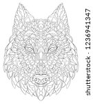 patterned head of wolf. dog... | Shutterstock .eps vector #1236941347