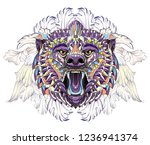 patterned head of the roaring... | Shutterstock .eps vector #1236941374