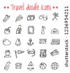 travel doodle icons | Shutterstock .eps vector #1236954211