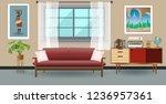 retro colorful living room... | Shutterstock .eps vector #1236957361