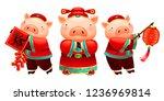 lovely piggy characters holds... | Shutterstock .eps vector #1236969814