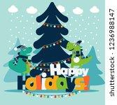cute winter holiday... | Shutterstock .eps vector #1236988147