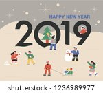 2019 new year greeting card.... | Shutterstock .eps vector #1236989977