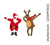 funny santa and deer dancing... | Shutterstock .eps vector #1236993631