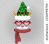 funny mask with elf  chirstmas... | Shutterstock .eps vector #1236998704
