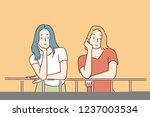 the two girls are thoughtful... | Shutterstock .eps vector #1237003534