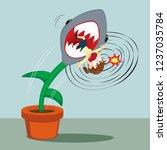 businesswoman trapped shark... | Shutterstock .eps vector #1237035784