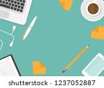 workplace with smartphone  pen  ... | Shutterstock .eps vector #1237052887