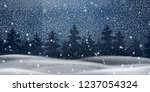 christmas  night snowy woodland ... | Shutterstock .eps vector #1237054324