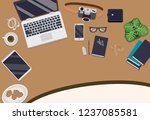 messy cluttered office desk | Shutterstock .eps vector #1237085581