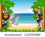 Stock photo funny animal cartoon collection with beach background 123709384