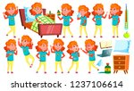 sick girl schoolgirl vector.... | Shutterstock .eps vector #1237106614