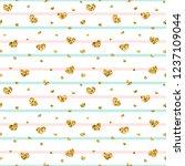 gold heart seamless pattern....   Shutterstock .eps vector #1237109044