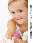 Smiling child receiving vaccine - health care concept, closeup - stock photo