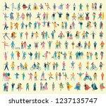 big set of people walking with...   Shutterstock .eps vector #1237135747