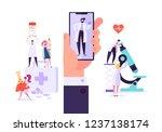flat medicine smartphone with... | Shutterstock .eps vector #1237138174