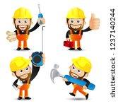 people set   profession   worker | Shutterstock .eps vector #1237140244