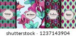 lilies on vintage. combined set ... | Shutterstock .eps vector #1237143904
