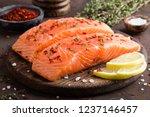 Fresh Salmon Fish Fillet On...