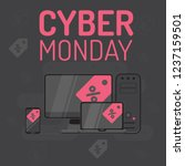 graphics on cyber monday with a ... | Shutterstock .eps vector #1237159501