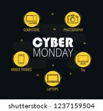 graphics on cyber monday with a ... | Shutterstock .eps vector #1237159504