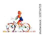 colorful vector girl on a bike...   Shutterstock .eps vector #123716725