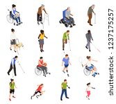 disabled injured people outdoor ... | Shutterstock .eps vector #1237175257