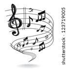 background with music note. | Shutterstock . vector #123719005