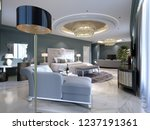 sofa bed with a floor lamp in a ... | Shutterstock . vector #1237191361
