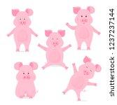 A Set Of Cute Piggy Cartoon...