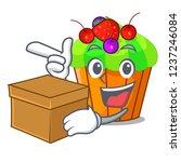 with box ice cream sundae... | Shutterstock .eps vector #1237246084