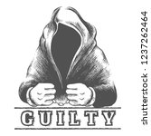 hand drawn prisoner in hood... | Shutterstock .eps vector #1237262464