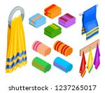 set of different towels in...   Shutterstock .eps vector #1237265017