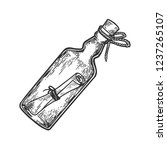 message in a bottle engraving... | Shutterstock .eps vector #1237265107