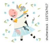 cute cow dancing in blue skirt. ... | Shutterstock .eps vector #1237267417