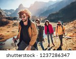 group of hikers walking on a...   Shutterstock . vector #1237286347
