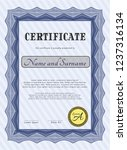 blue certificate. cordial...   Shutterstock .eps vector #1237316134